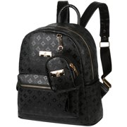 Portable Women Backpack 2 in 1 PU Leather Shoulders Bag Chic School Bags Portable Travel Daypack with Hanging Pouch, Black