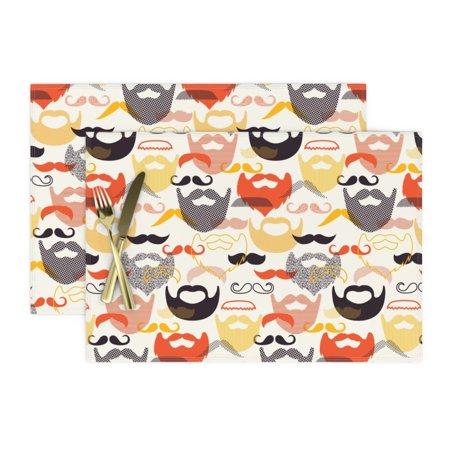 Image of Cloth Placemats Beard + Mustache Mod Scandi Facial Mustard Man Set of 2