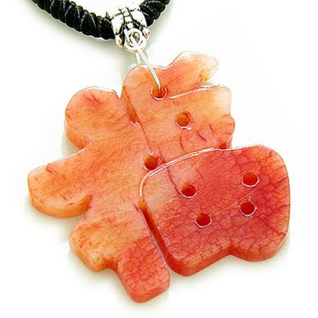 Good Luck Talisman Lucky Charm Symbol Red Serpentine Pendant