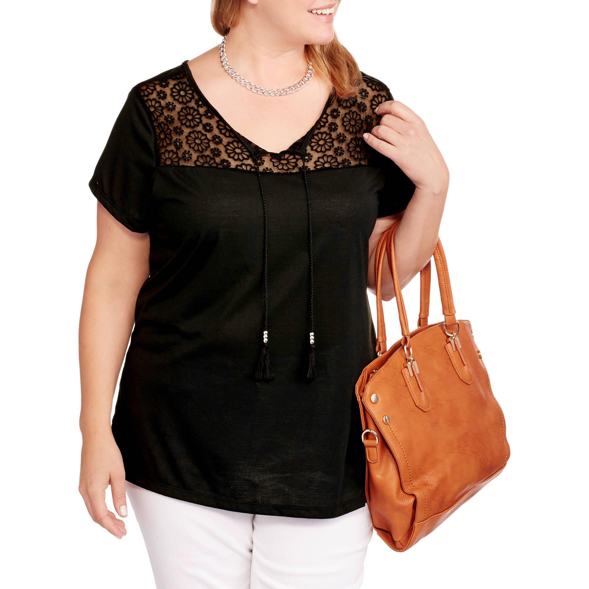 Karen Brooks Women's Plus Lace Front Short Sleeve Knit Shirt with Tassels
