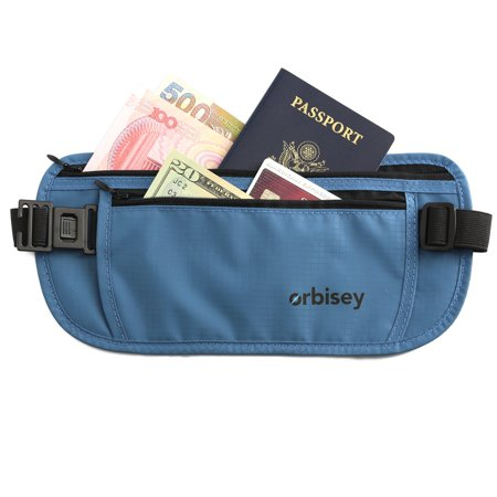 Orbisey Travel Adventure Hidden Waist Money Belt Water-Resistant for Passport, Credit Cards, Phone, Documents One-Size Fits All (Blue)