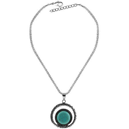 Personality Retro Jewelry Turquoise Studded Pendant Necklace for Women Girls