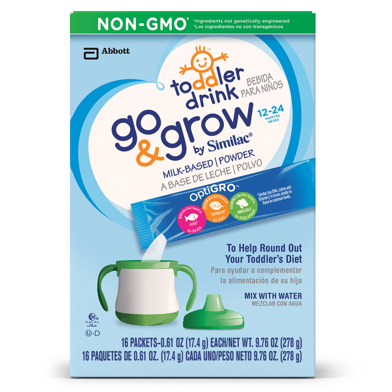 Go & Grow by Similac NON-GMO Milk-Based Toddler Drink, Powder, Powder Packs, 0.61 oz (Pack of 16)