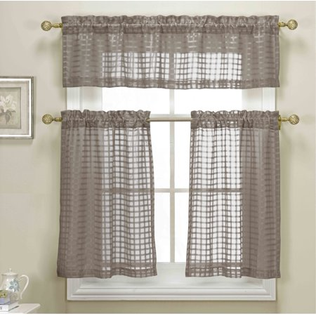 3 Piece Taupe Sheer Kitchen Curtain Set Woven Check Design 1 Valance 2