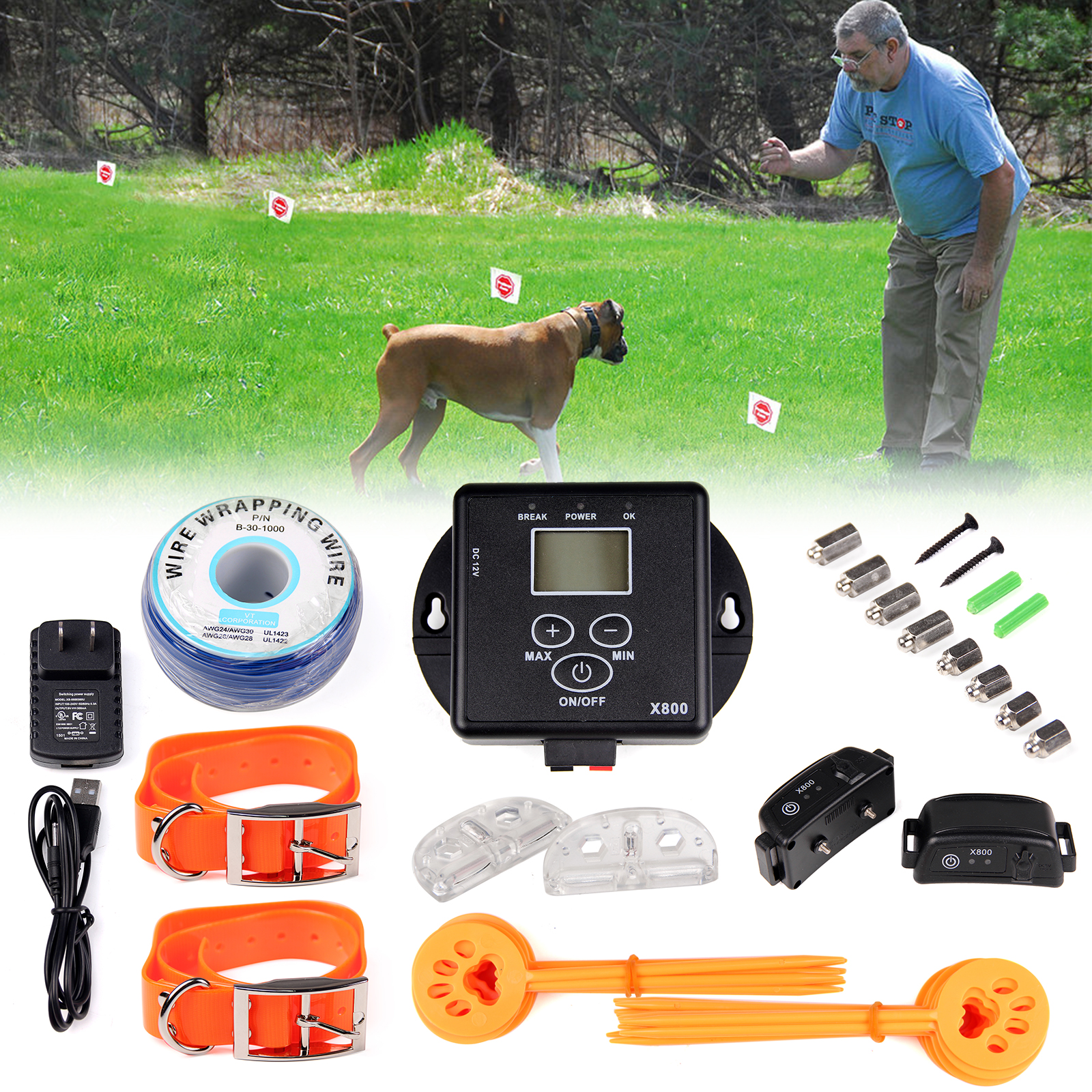 PENSON & CO. In-Ground Electric Digital Dog Pet Fence Shock Wireless Waterproof 2 Collars
