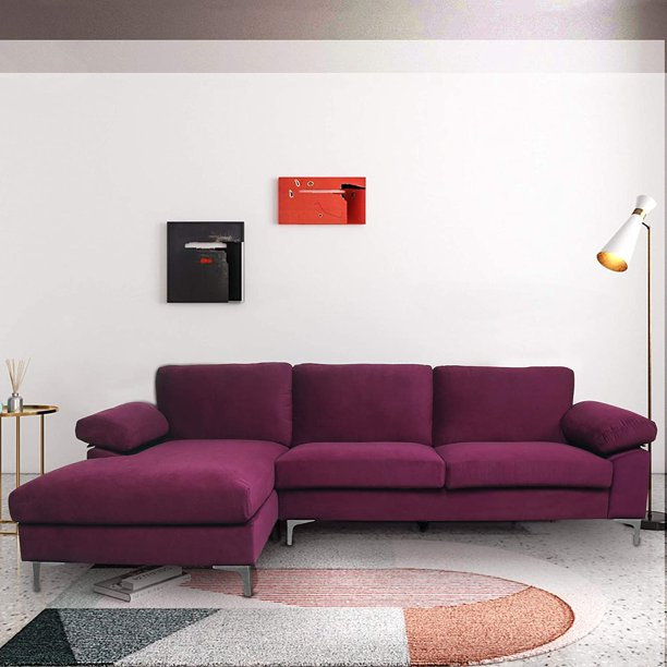 Furniture Modern Large Velvet Fabric, Large Sectional Sofa With Chaise Lounge