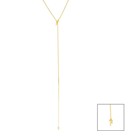 Lesa Michele Love Knot Lariat Necklace in Gold over Sterling Silver Chic Sterling Silver Love Knot