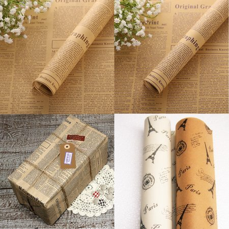 10pcs Tower Wrapping Paper Double Sided Party Gift Flower Wrap Decor Kraft Paper