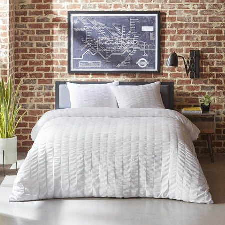 City Scene Orleans Seersucker White Duvet Set, Full/Queen