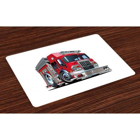 Fire Truck Placemat (Truck Placemats Set of 4 Cartoon Style Red Fire Truck Emergency Services Safety of the City Transportation, Washable Fabric Place Mats for Dining Room Kitchen Table Decor,Red Pale Grey, by)