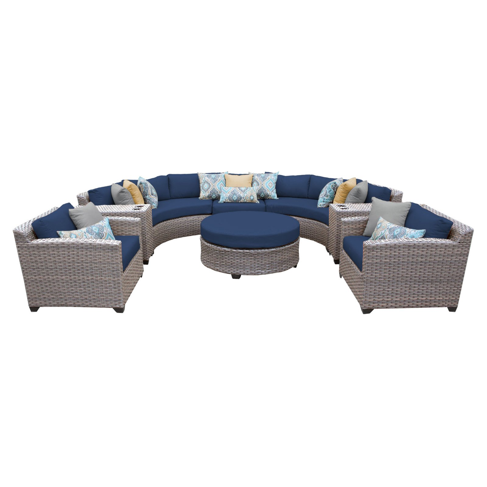 TK Classics Florence Wicker 8 Piece Patio Conversation Set with Cup Table and 2 Sets of... by Delacora