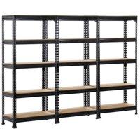 3-Pieces SmileMart 5-Tier Adjustable Shelf Garage Steel Metal Storage Rack