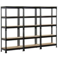Deals on SmileMart 5-Tier Adjustable Storage Rack Shelf Garage 3PCS