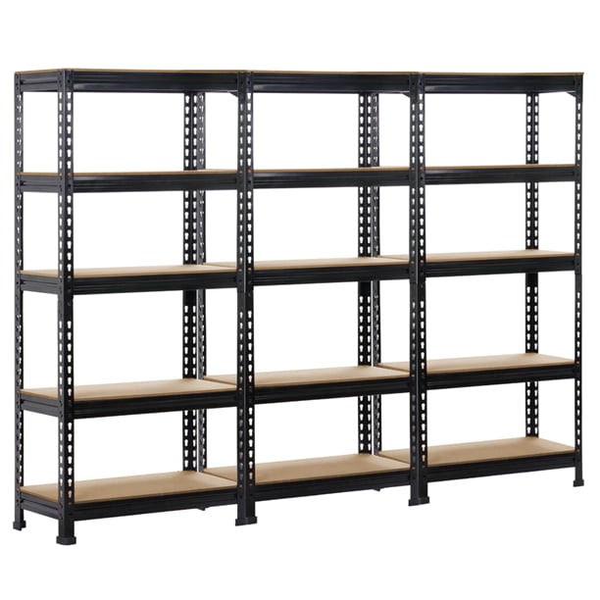 5-Tier Metal Adjustable Garage Storage Rack – 3 Pack