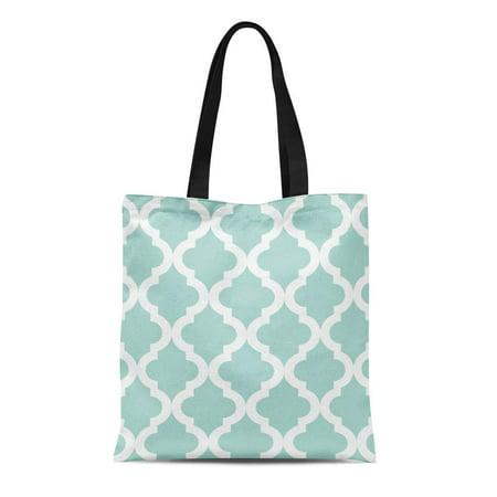HATIART Canvas Tote Bag Green Pattern Mint Moroccan Quatrefoil Quatrefoilpreppy Modern Traditional Reusable Handbag Shoulder Grocery Shopping Bags - image 1 de 1