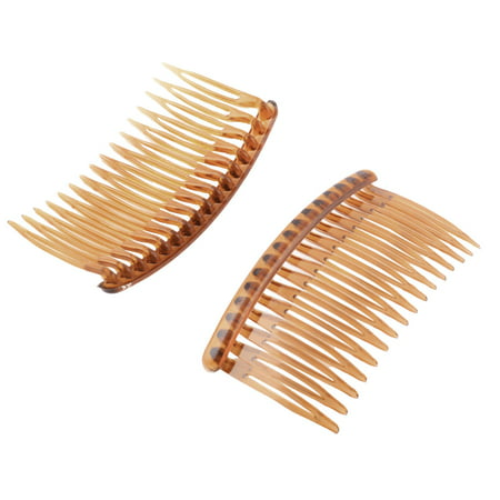 Women Lady Plastic 16 Teeth Fancy DIY Hair Comb Clip Slide Hairpin Brown 2 Pcs - Diy Halloween Hair Clips