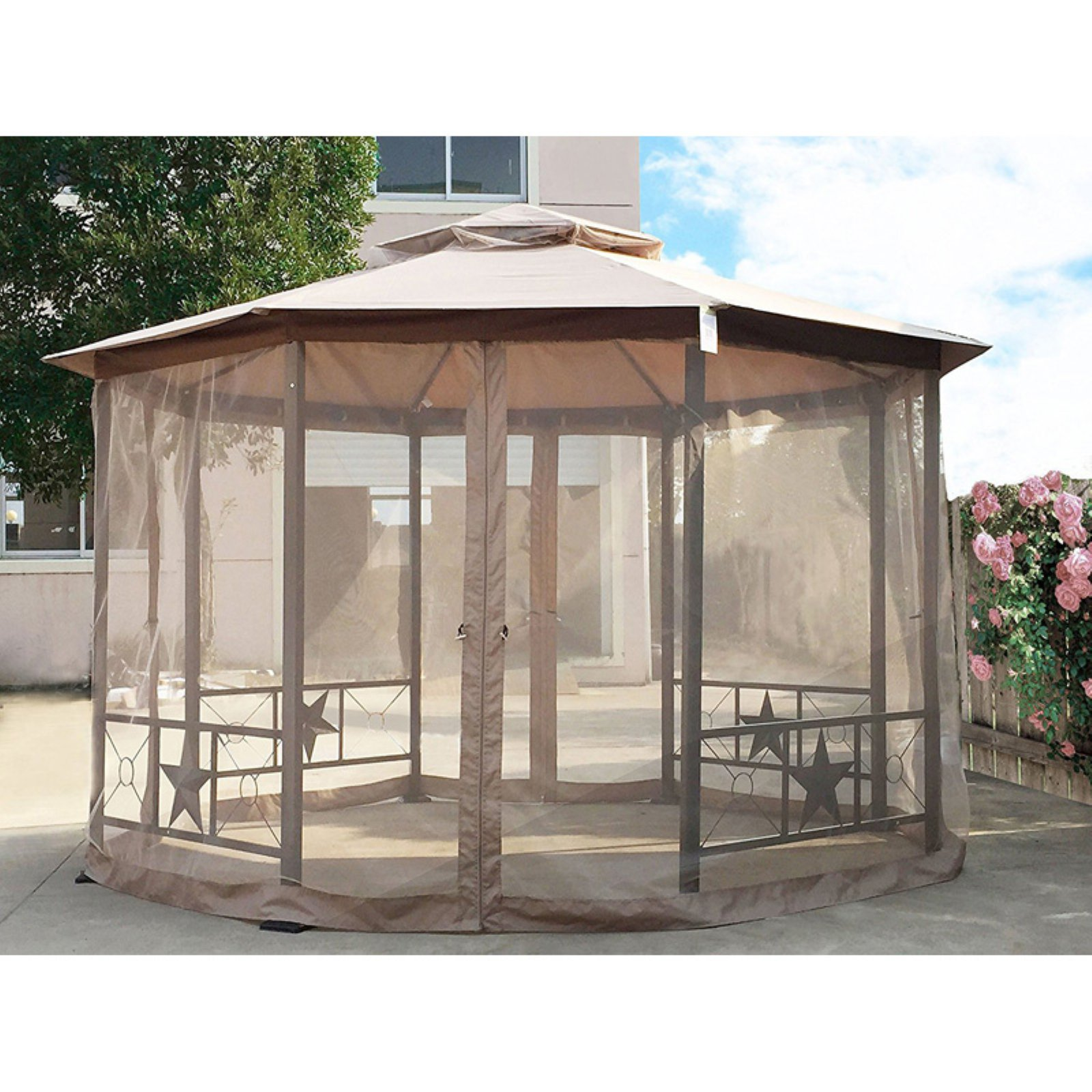 Cloud Mountain 12 ft. Round Double Roof Vented Gazebo Canopy with Mosquito Netting by Cloud Mountain