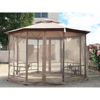 Cloud Mountain 12 ft. Round Double Roof Vented Gazebo Canopy with Mosquito Netting