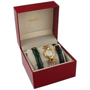 Women's 14k Gold Plated Interchangeable Pearl Leather Watch Gift Set