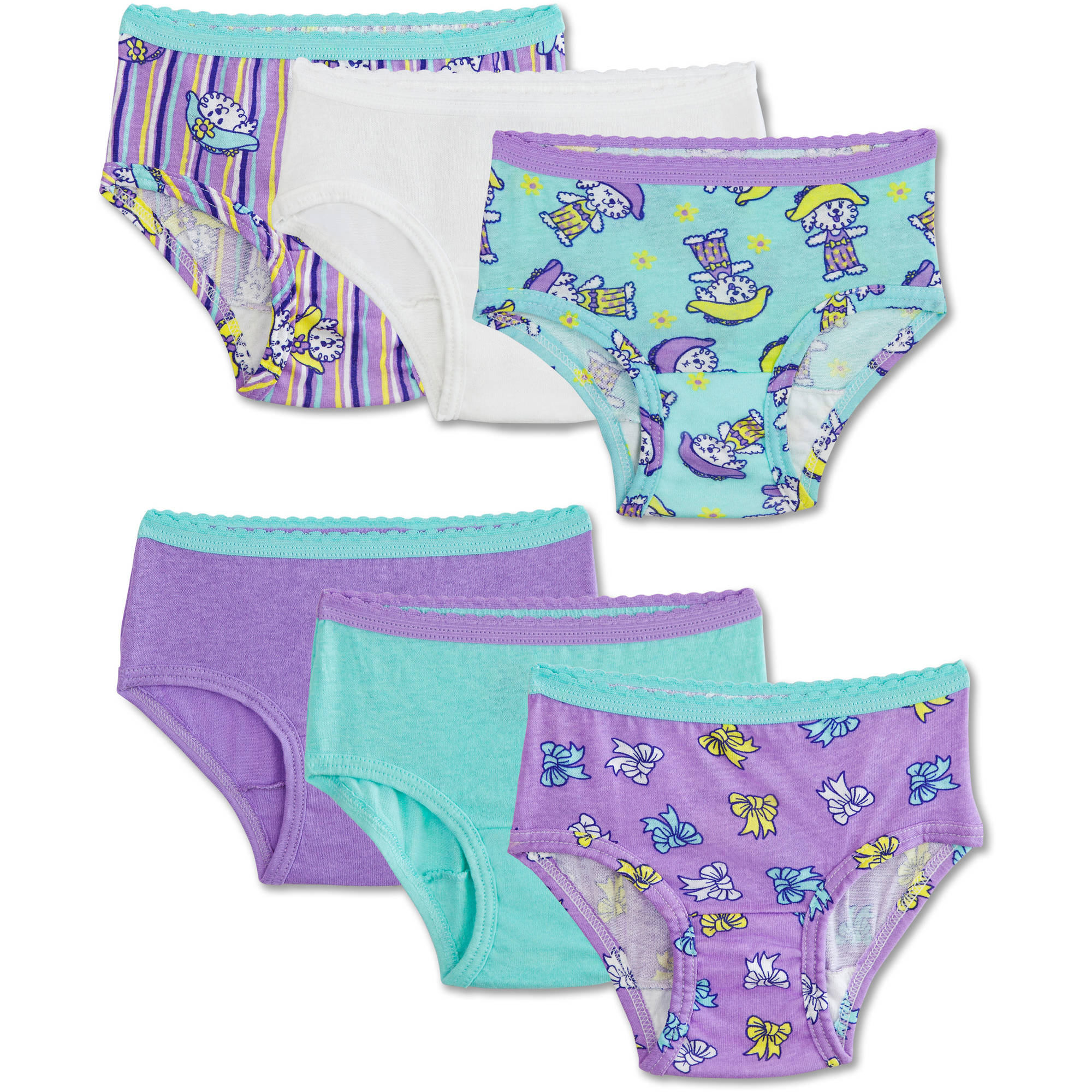 Fruit of the Loom Toddler Girls 100% Cotton Brief Underwear Panties, 6 Pack