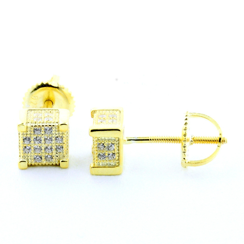 Yellow Silver Cube Earrings With CZ Screw Back 6.5mm Wide Fashion Studs