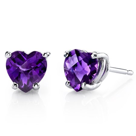 14k White Gold Plated Silver 3 Carat Heart Shape Amethyst Stud Earrings Pack Of 3.
