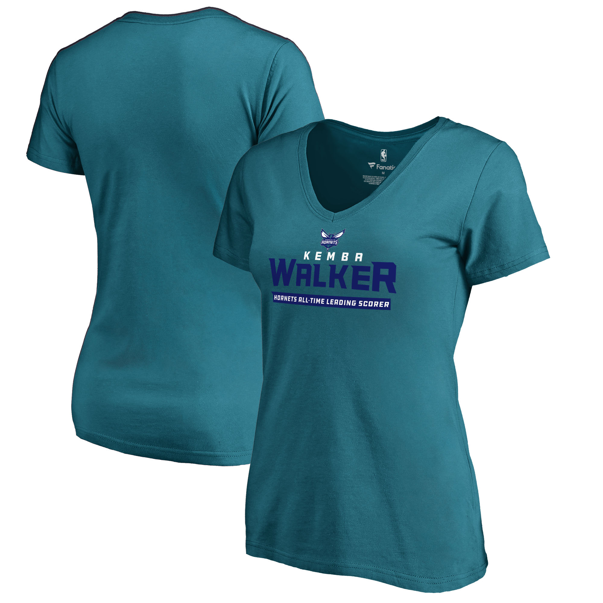 Kemba Walker Charlotte Hornets Fanatics Branded Women's All-Time Leading Scorer V-Neck T-Shirt - Teal