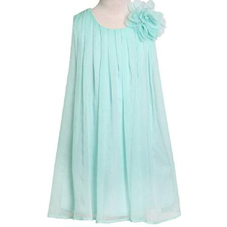 Adorable Girls Denim Dress (Big Girls' Adorable Chiffon Mesh Flower Flowers Girls Dresses Aqua Size 10)