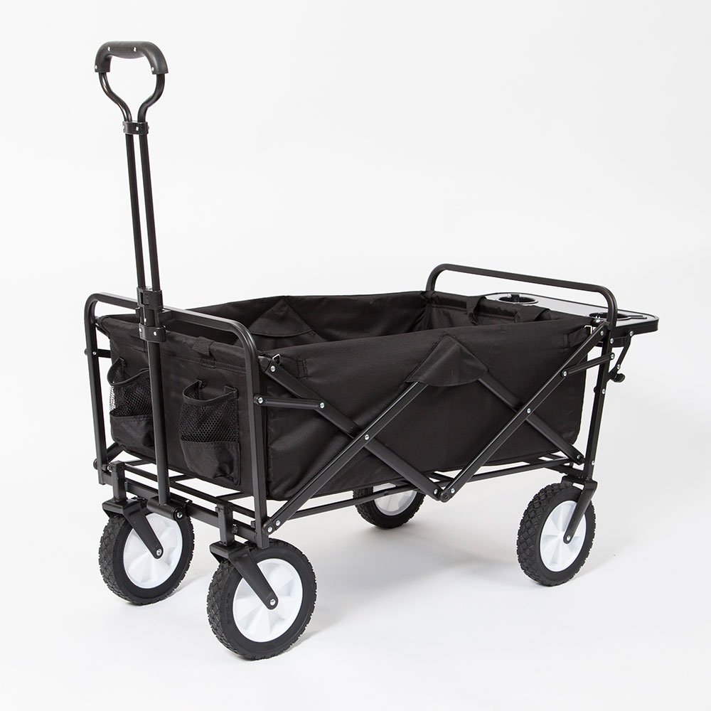Mac Sports Collapsible Folding Outdoor Garden Utility Wagon Cart w/ Table, Navy