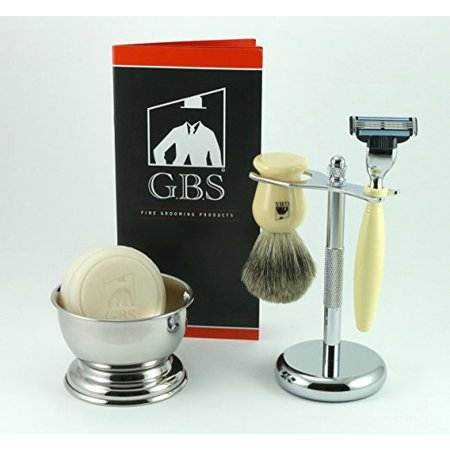 5 Piece Shaving Set - Comes with Gift Box (Ivory Mach 3) GBS Manufactures high-end shaving tools and Accessories