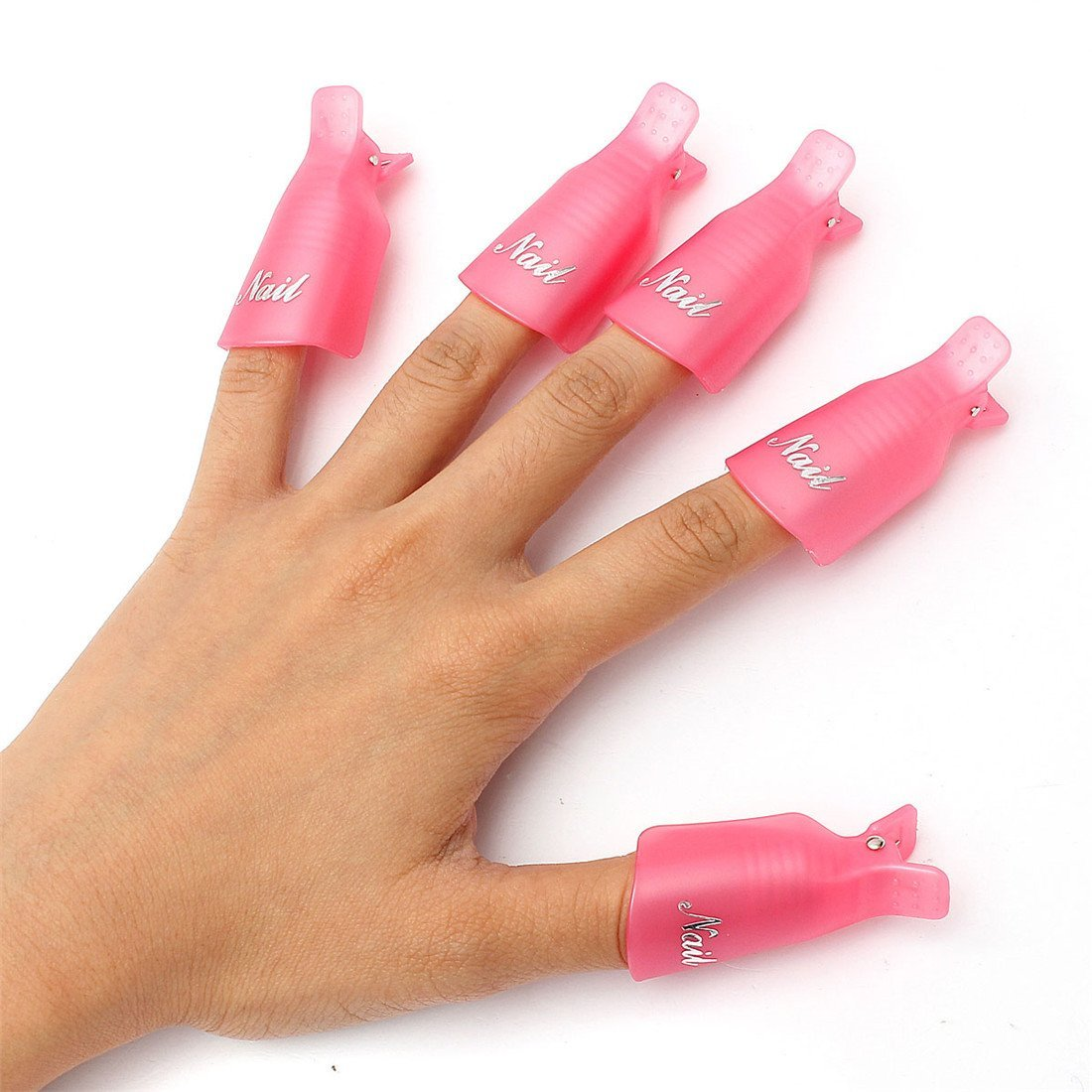 10PC Plastic Nail Art Soak Off Cap Clip UV Gel Polish Remover Wrap Pink