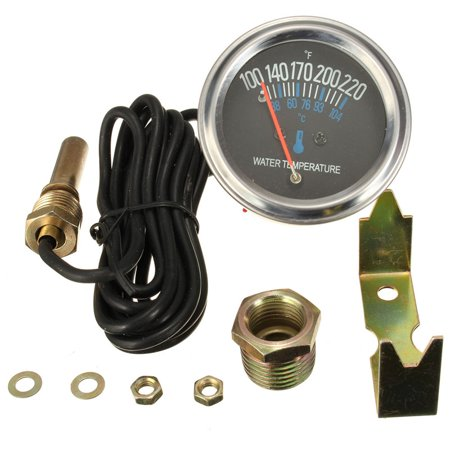 52mm Mechanical Auto Water Temperature Temp Meter Gauge 38~104℃ 12V Yellow (Auto Meter Mounting)