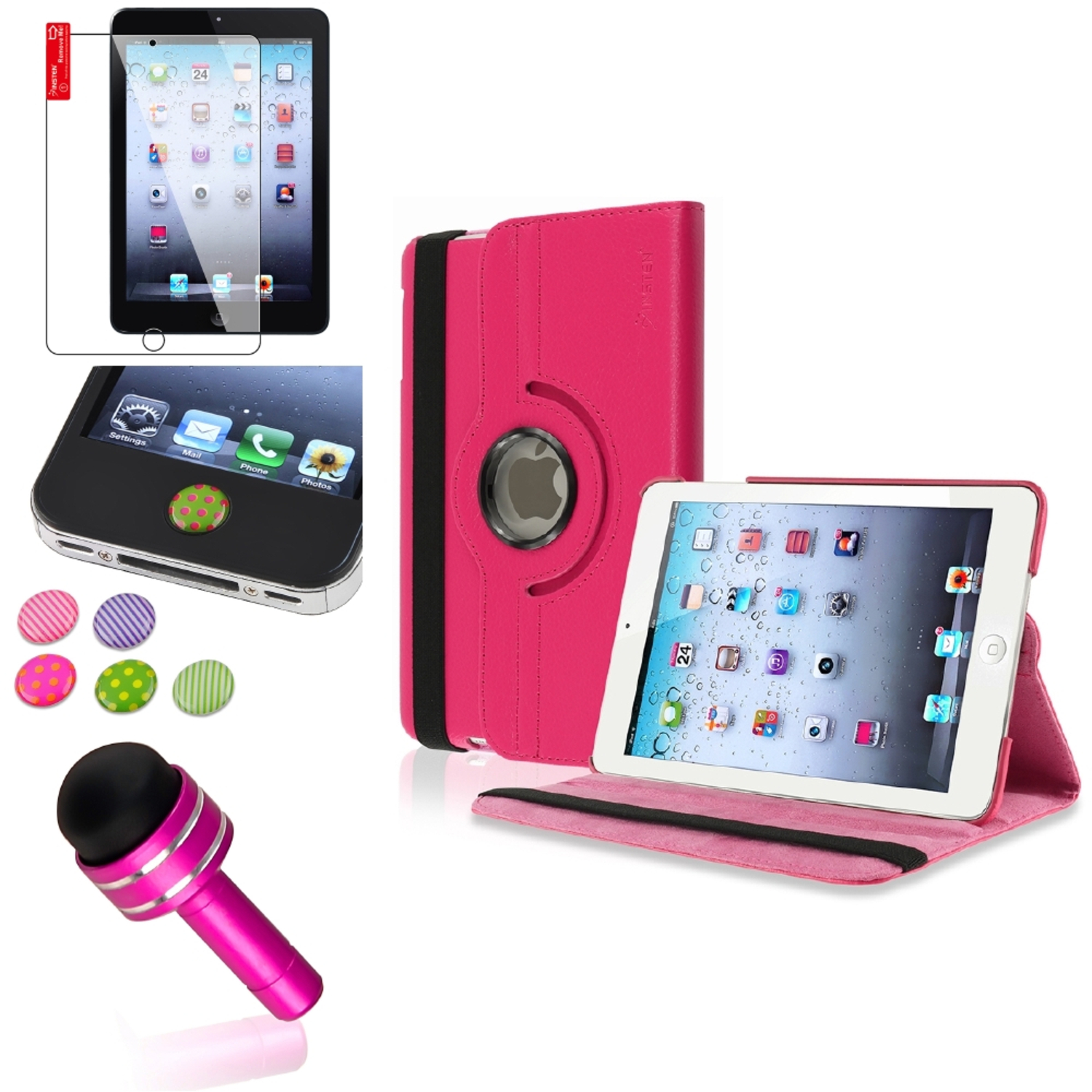 iPad Mini 3/2/1 Case, by Insten Hot Pink 360 Stand Leather Case Cover SP/Pen for iPad Mini 3 2 1