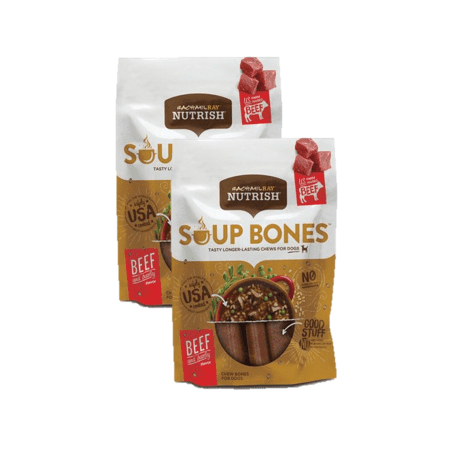 (2 Pack) Rachael Ray Nutrish Soup Bones Dog Treats, Beef & Barley Flavor, 6.3oz