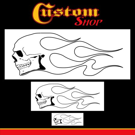Airbrush Skull Fire Flame Stencil Set (Skull Design #1 in 3 Scale Sizes) - Laser Cut Reusable Templates - Auto, Motorcycle Graphic Art, Set of 3 Custom.., By Custom Shop (Airbrush Skull Stencils Reusable)