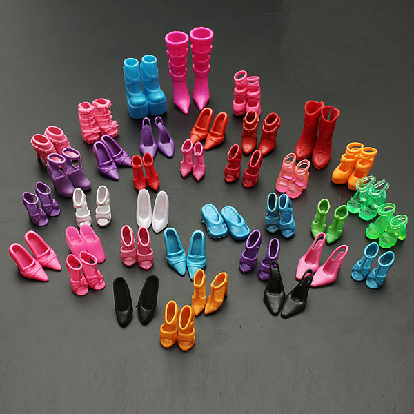 60 Pairs Trendy Multiple Styles Barbie Doll Shoes Different High Heels For Barbie Doll Dresses Clothes Girls Gift
