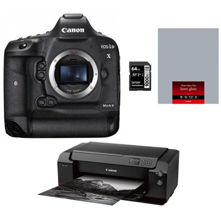 "Canon EOS 1DX Mark II DSLR Body - Bundle With Canon imagePROGRAF PRO-1000 17"" Professional Photographic Inkjet Printer, Canon SG-201 Semi-Gloss Photo"