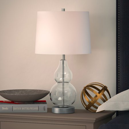 Katrina petite table lamp in clear glass Clear Blown Glass Table Lamp
