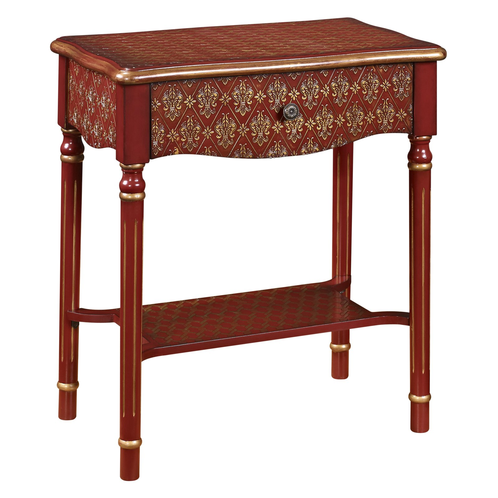 Drawer Accent Table, Red and Gold Asian Influence