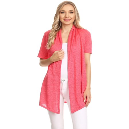 e93a7b6d0f08 MOA COLLECTION - MOA COLLECTION Women s Solid Casual Comfy Short Sleeve Open  Front Draped Sweater Cardigan Made in USA - Walmart.com