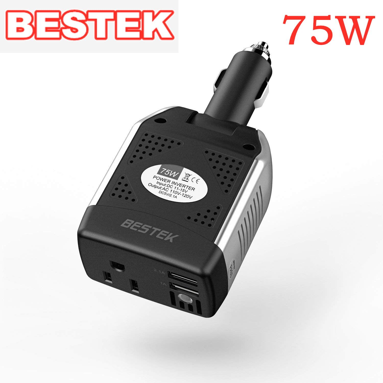 With Dual 3.1 Amp Shared USB 12 Volt DC to 110 Volt AC 120 Watt Power Inverter