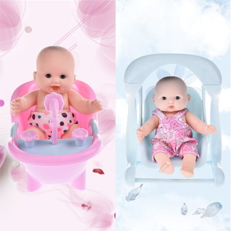 Vinyl Mini Simulation Emoji Doll Cradle Bath Baby Doll