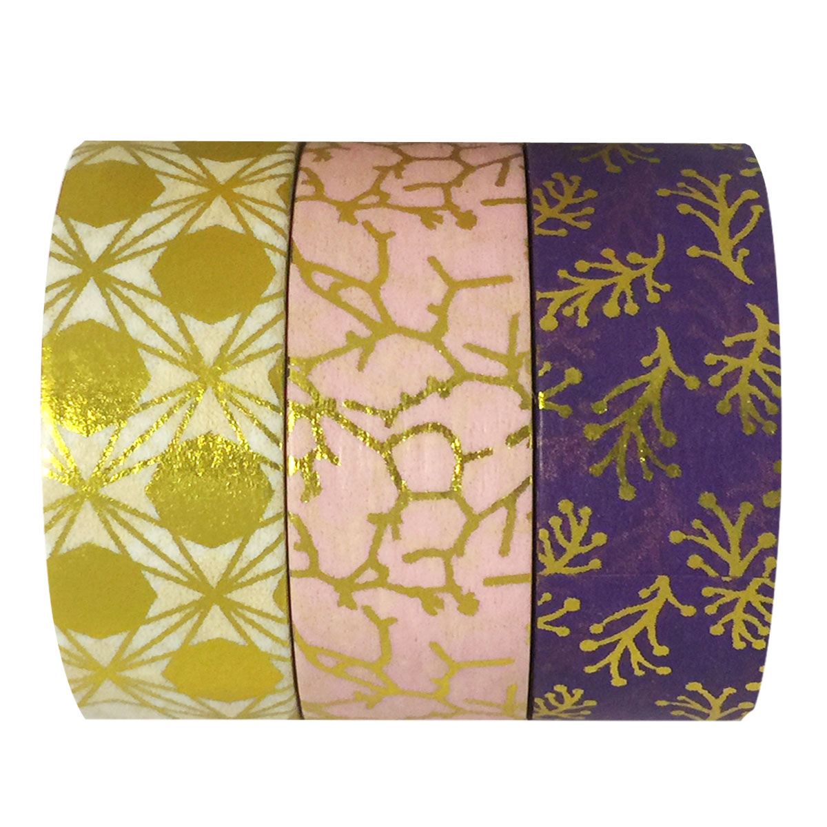Wrapables® Reborn Metallic Foil Washi Masking Tape (set of 3), 10M L x 15mm W