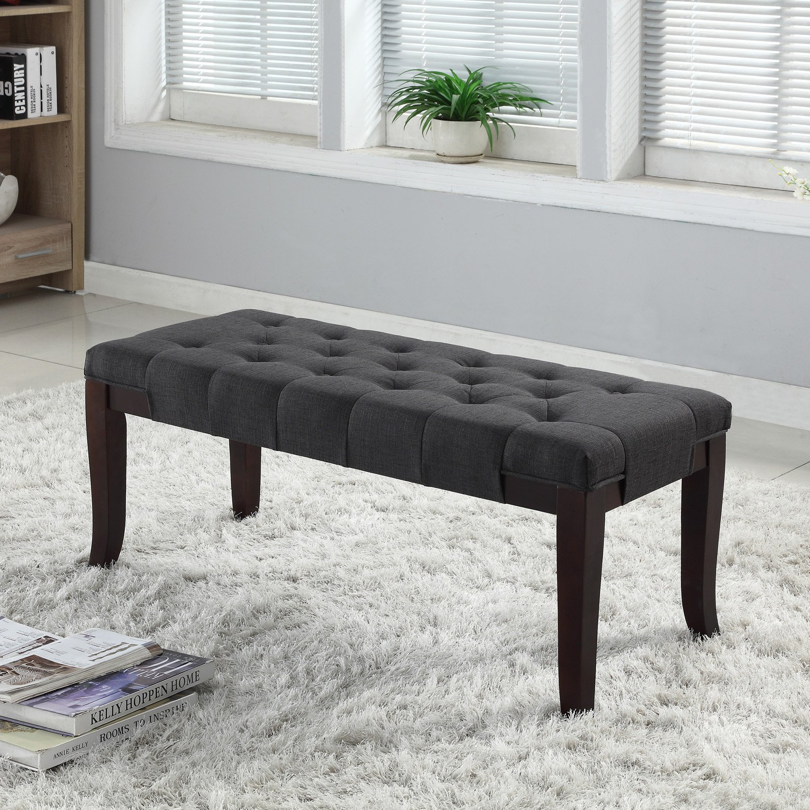 Roundhill Furniture Linon Leather Tufted Bench, Multiple Colors