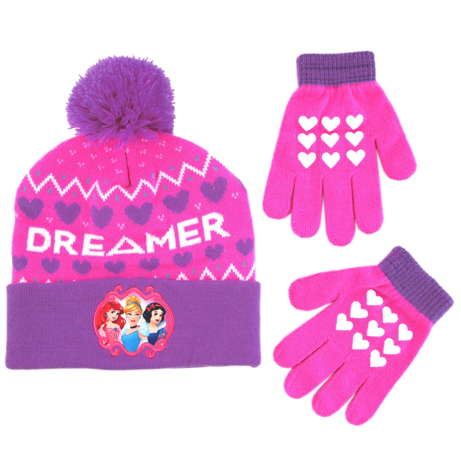 Disney Princess Character Hat and Gloves Cold Weather Set, Little Girls, Age 4-7