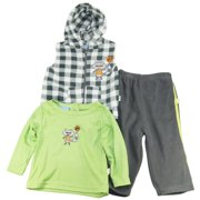 Duck Goose Baby Boys Newborn Fox Sherpa Hooded Vest Tee 3Pc Pant Set