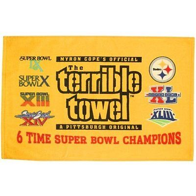Little Earth Pittsburgh Steelers Terrible Towel 6 Time Super Bowl Champions
