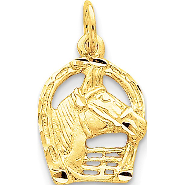 Leslies Fine Jewelry Designer 14k Yellow Gold Yellow Diamond-cut Horse Head in Horseshoe (12x20mm) Pendant Gift