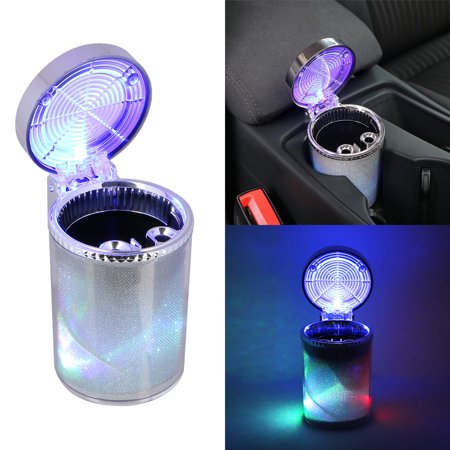 Car Ashtray w/ Colorful LED Light Indicator for Universal Car Cup Holder, Portable Stand Cylinder Cigarette Ashtray