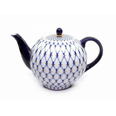 Lomonosov Ornament 60 Oz Teapot Kettle, Russian Saint Petersburg Cobalt Blue Net Lomonosov Blue Net